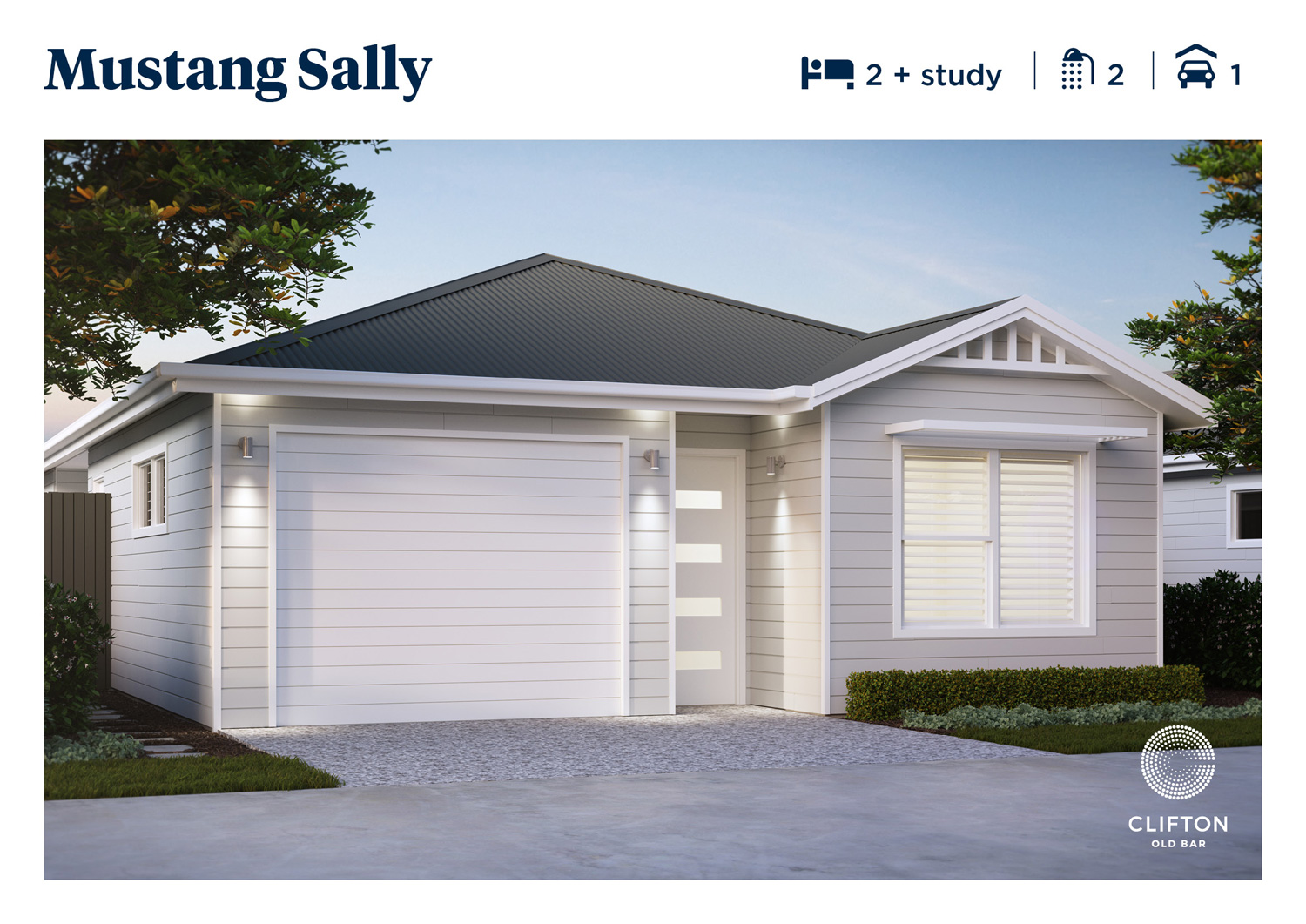 Mustang Sally 2bd + study home design at Clifton Old Bar